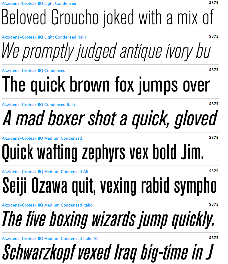 I always have visions of gargoyles, sharp edges and car crashes whenever I see the name of this font written down. But any designer knows that this classic, clean, sturdy sans serif is anything but those things.   http://en.wikipedia.org/wiki/Akzidenz_Grotesk