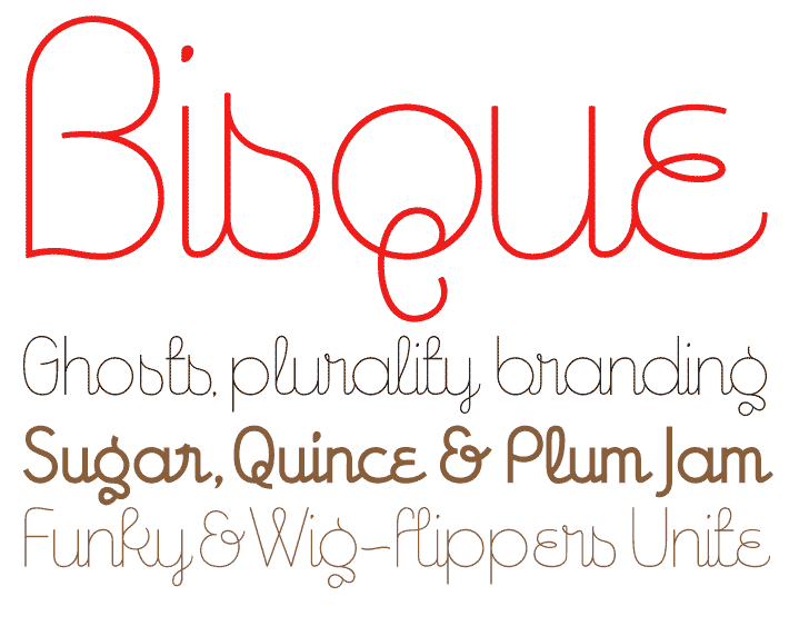"Yey, a typeface named after food! But surprisingly, it doesn't really conjure up images of creamy lobster soup in my head. This is actually one typeface with a name that reflects what it looks like. I've always visualised the ""-isque"" sound as being elegant and curvaceous. Or curvaceously elegant. Or elegantly curvaceous."