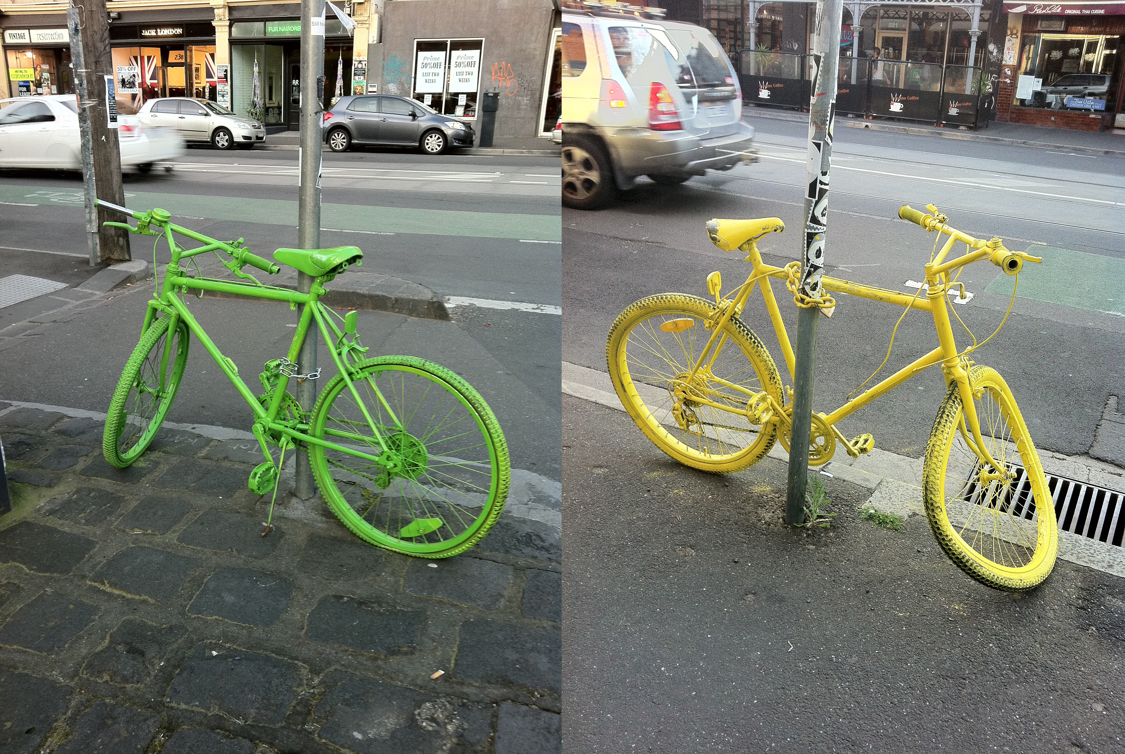 spray painted bikes collected. Black Bedroom Furniture Sets. Home Design Ideas