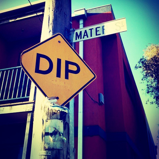 And one, and two, and pirouette, and chassé, chassé, chassé... and dip? Never seen it on a road sign before.