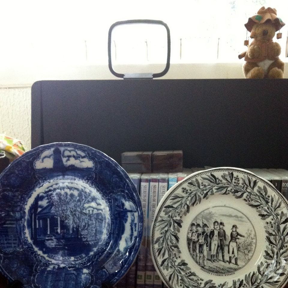 Decorative plates with stuffed kangaroo behind them