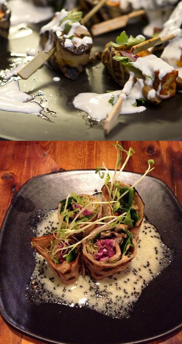 Tofu skewers at TTS (top) and buckwheat crepe at Yong (bottom)