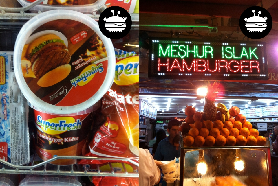 """Burger meat"" at a grocery store off Taksim Square and one of the many ""burger joints"" in Taksim Square. Real burger joints don't have real fruit in their shopfronts."