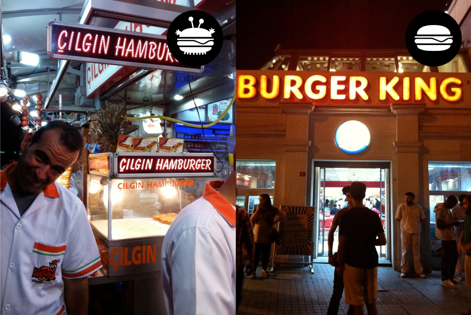 Fake burger place off Taksim Square (with mildly slimy character posing for the shot) and fast food giant, Burger King, on Istikal Caddesi
