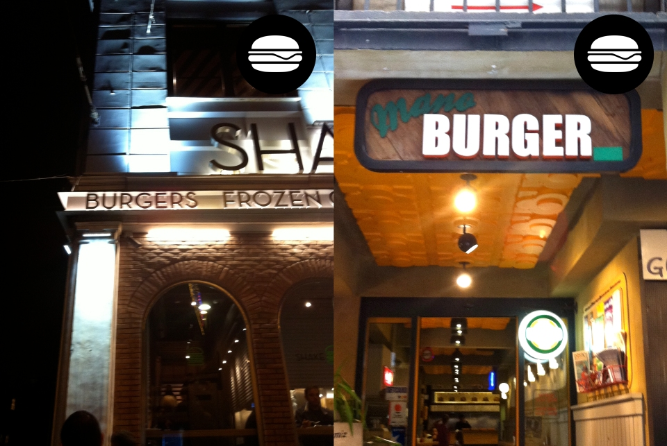 Shake Shack, one of the largest fast food chains in Istanbul and Mano Burger in Galatasaray